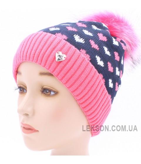 Детская вязаная шапка Сердечки D44927-48-52