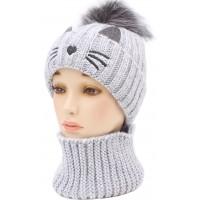 Детская вязаная шапка Кошка D54452-46-50