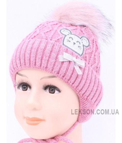 Детская вязаная шапка Мышка D52933-44-48