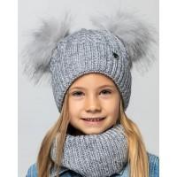 Детская вязаная шапка D607465-46-50 Алиса комплект