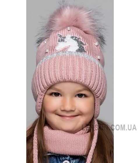 Детская вязаная шапка D630315-46-50 Единорог