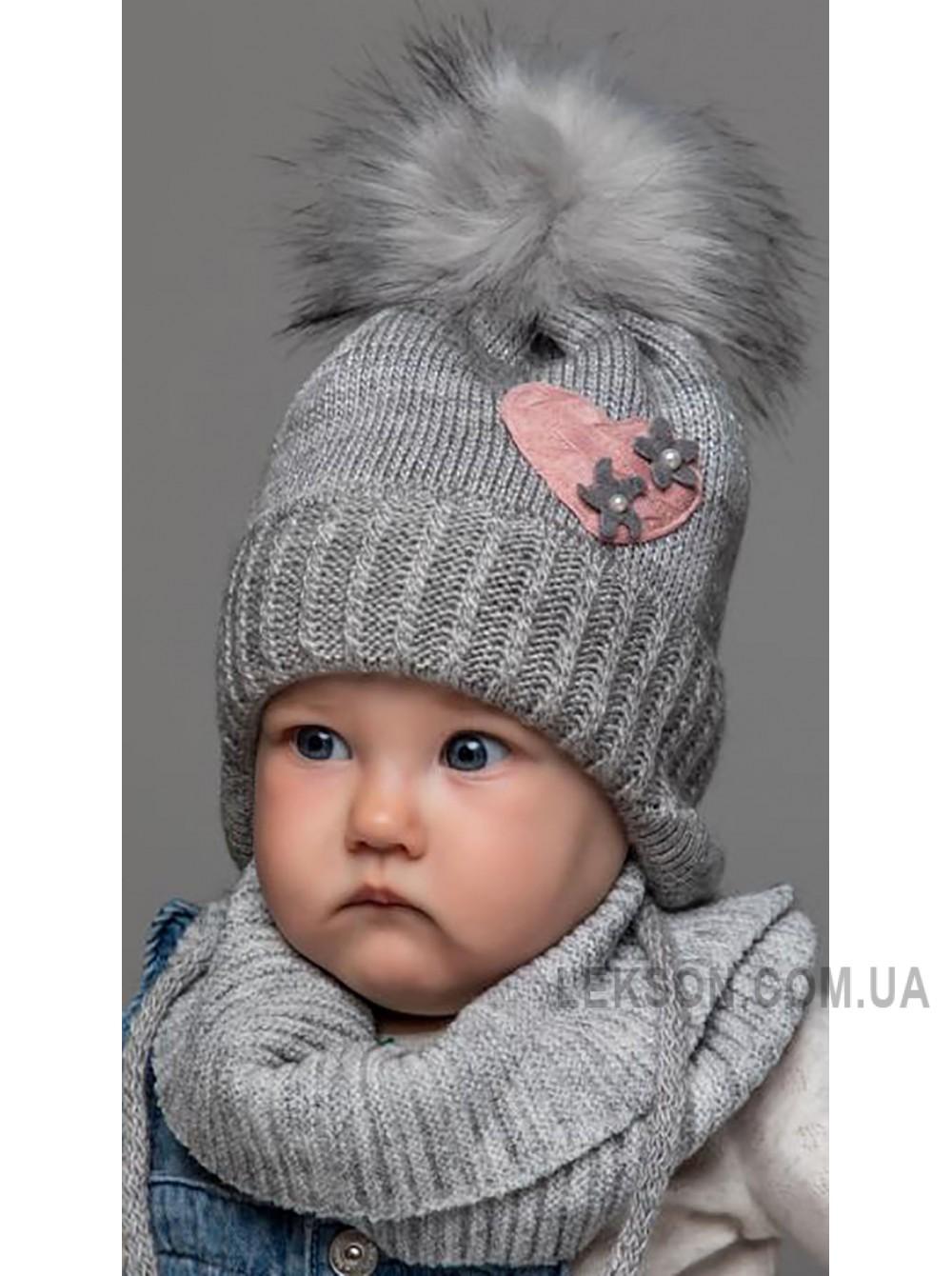 Детская вязаная шапка D646295-42-46 Ромашка