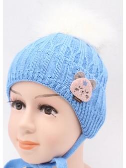 Детская вязаная шапка S-04 котенок 255-46-48